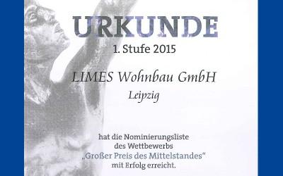 """Nominierungsliste """"Großer Preis des Mittelstandes"""" 2015"""