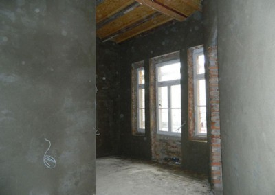 Innenputz in einem zukünftigen Küchenbereich