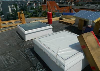 eingebaute Lichtkuppeln für die Dachgeschoßwohnungen