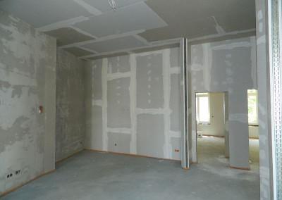 Wohnküchenbereich mit gespachtelten Trockenbauwänden
