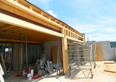 Blick von der Dachterrasse auf eine zukünftige Dachgeschosswohnung