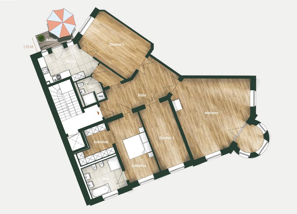 Vermietung Täubchenweg 1 - Grundriss Wohnung 03
