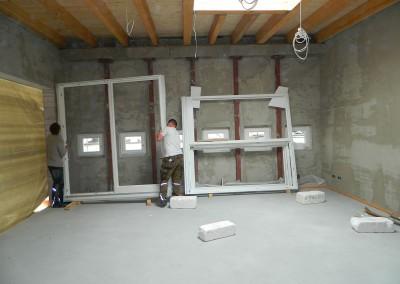 Einbau der Fenster zum Atrium
