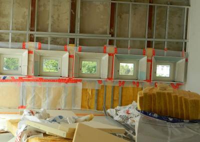 Trockenbauarbeiten an den Attikafenstern