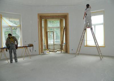 Maler und Tischler im Erkerzimmer im I. Obergeschoss