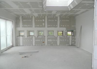 Wohnraum im Dachgeschoss nach Abschluß der Trockenbauarbeiten