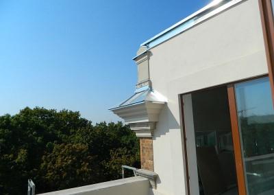 Verblechung des Traufkastens im Bereich der Dachterrasse