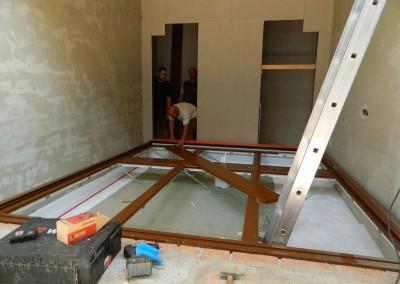 Vorbereitungsarbeiten für den Einbau der Panoramafenster