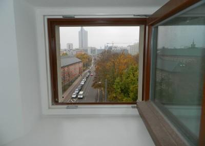 Blick aus einem Attikafenster in Richtung Augustusplatz