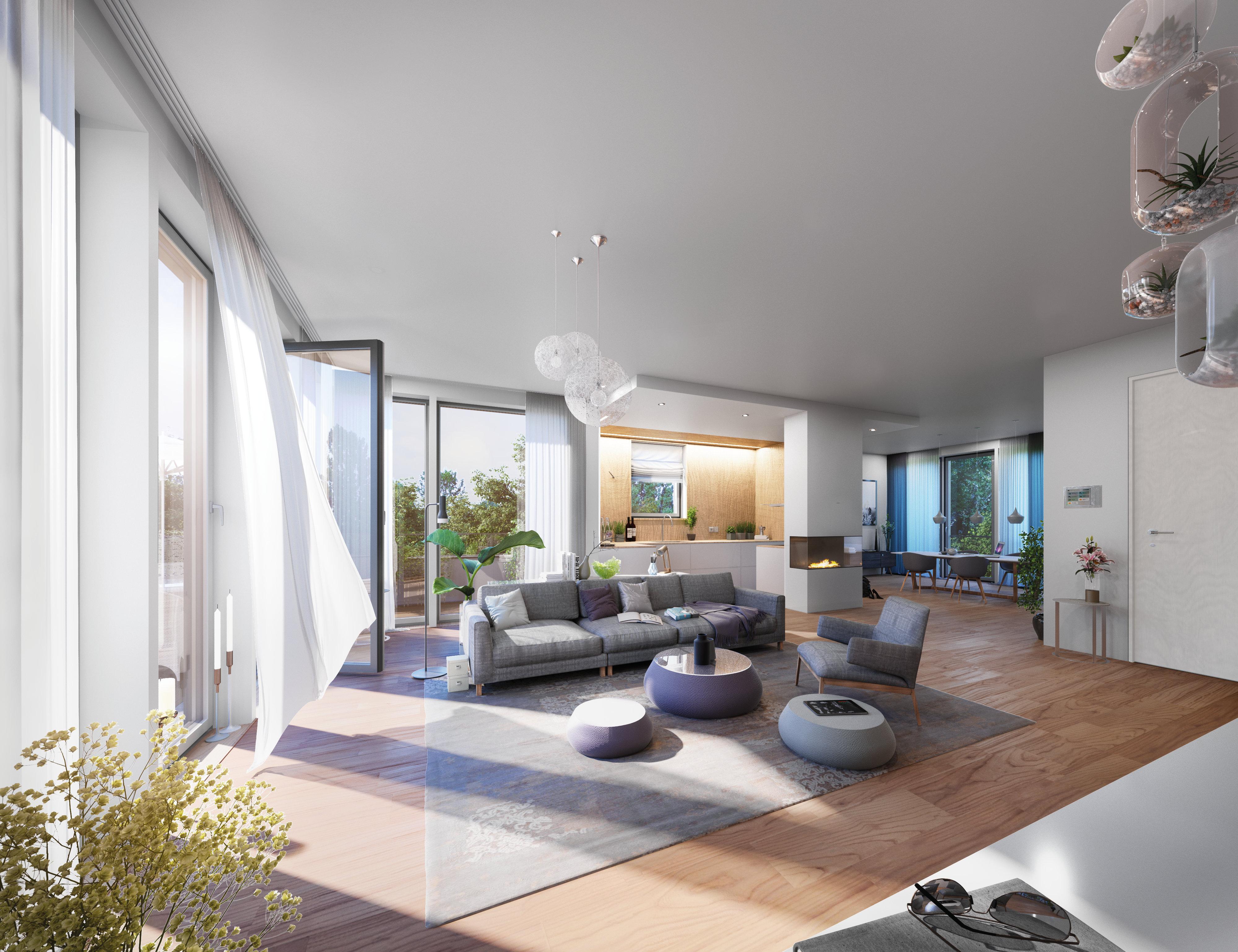 Das großzügig geschnittene Penthouse im vierten Obergeschoss des Hauses präsentiert sich offen mit weitläufigen Wohnräumen und besitzt neben einem integrierten Kamin auch zwei schöne Sonnenterrassen.