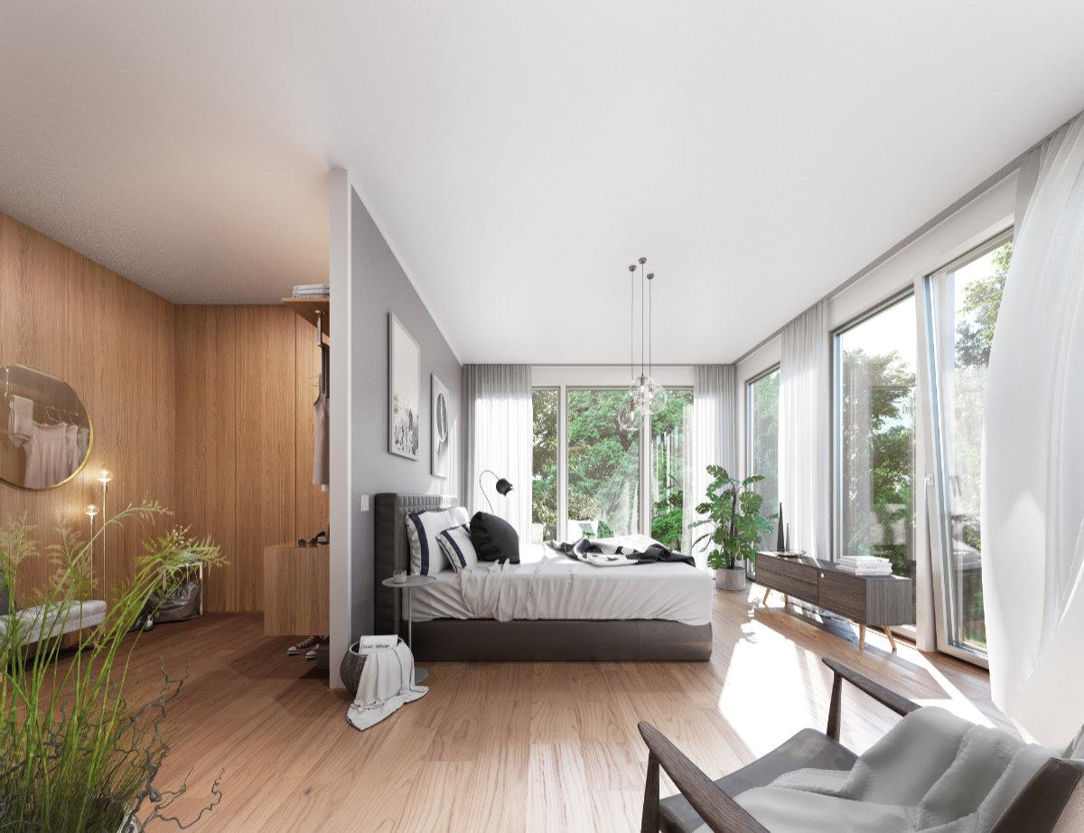 Diese Innenraumvisualisierung des Schlafzimmers gibt einen realistischen Vorgeschmack auf die geplante Grundrissgestaltung im zweiten Obergeschoss mit großzügigen Fensterflächen und offener Ankleide. Material und persönliche Funktionsfragen klären wir mit Ihnen gern im Vorfeld. So entstehen traumhafte Wohnräume mit einer individuellen Note.