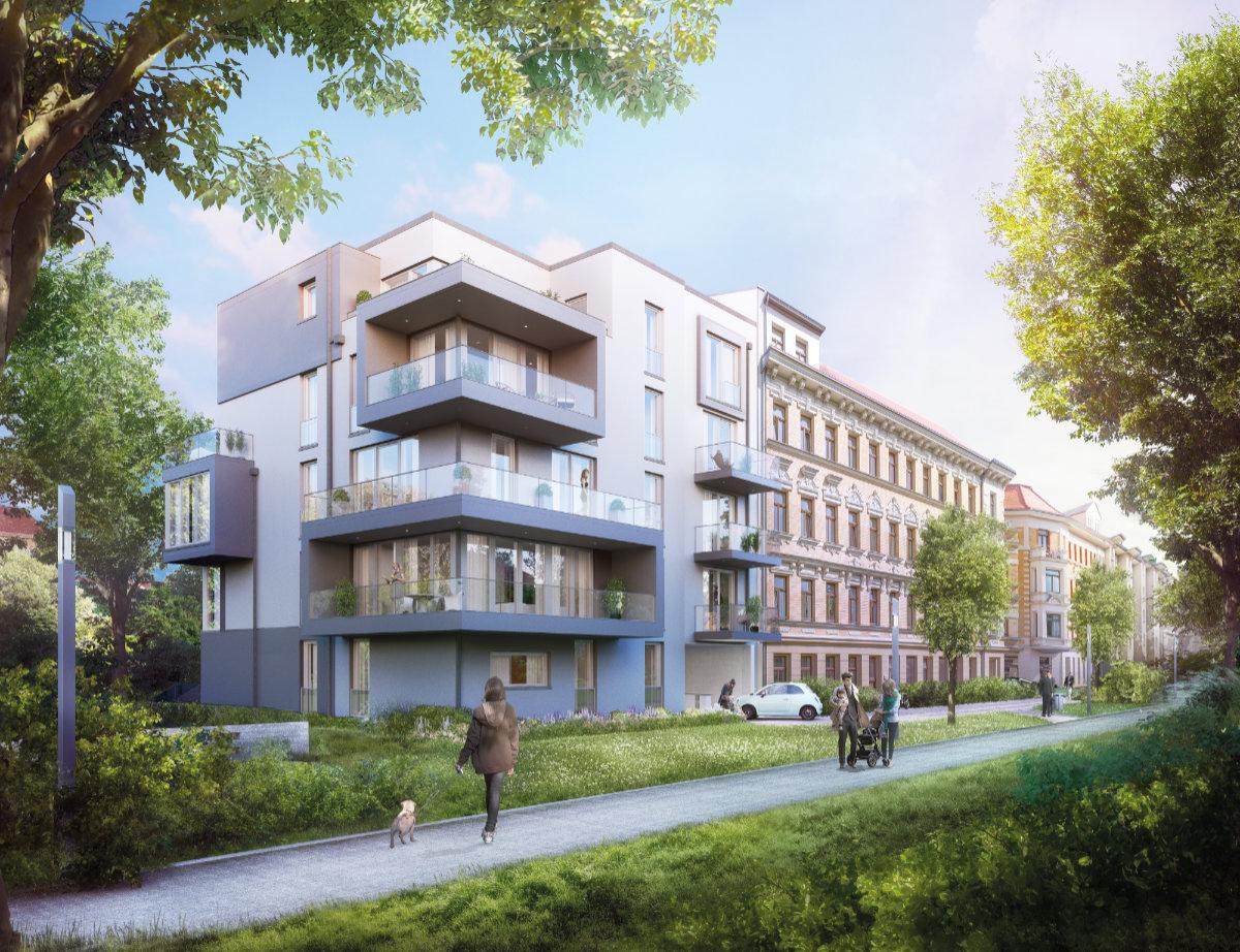 Moderne Architektur trifft auf historischen Bestand. Vor der Haustür genießen zukünftige Bewohner die Nähe zum direkt angrenzenden, öffentlichen Park mit kleinem Spielplatz und zahlreichen Grünflächen.