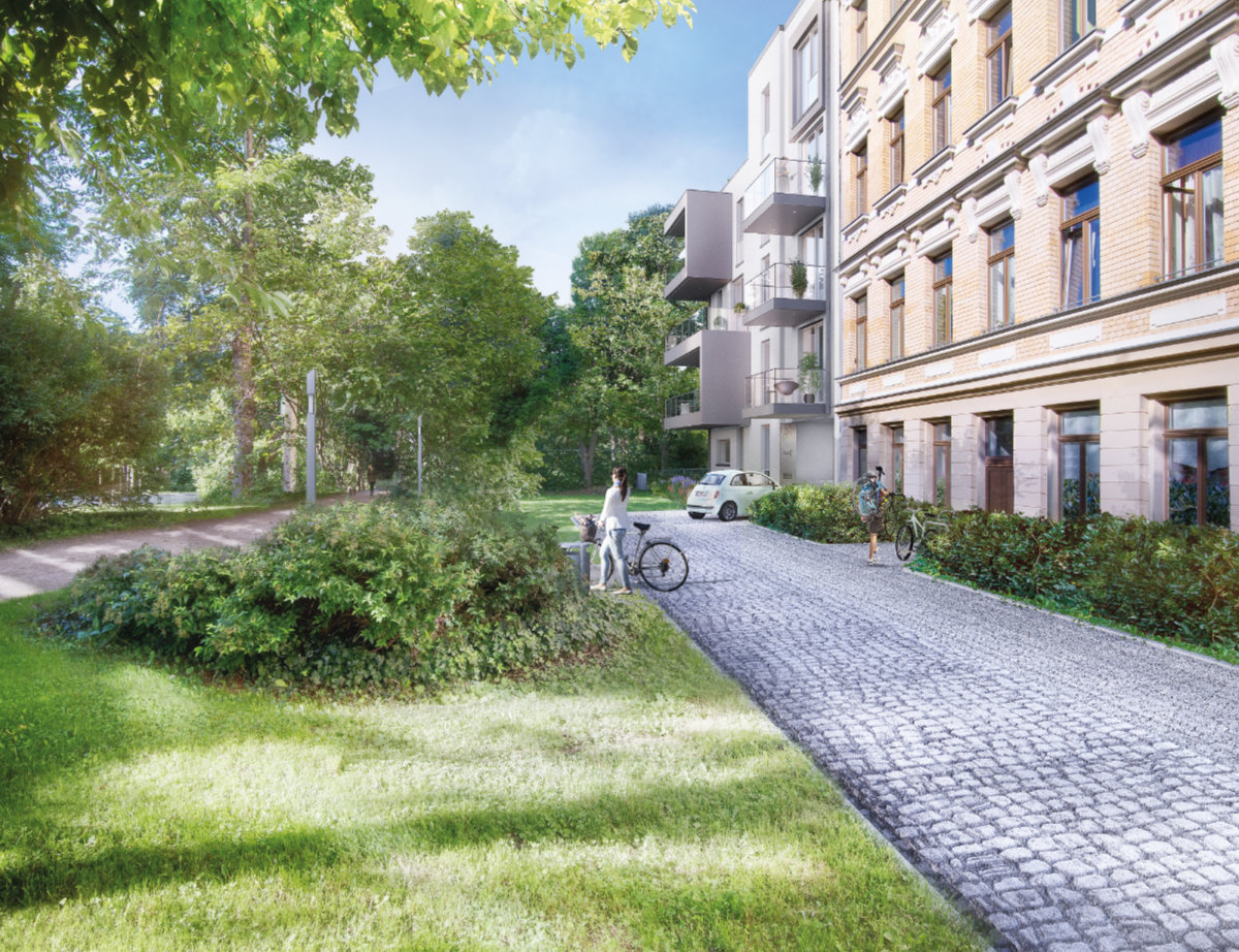"""Viel Grün in Aussicht: der Neubau integriert sich gut in die gründerzeitgeprägte Häuserzeile - und wächst """"organisch in das Stadtgrün""""."""